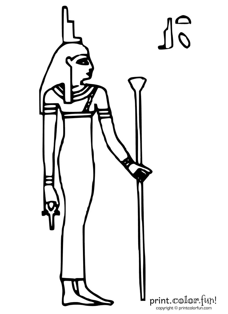 Egyptian Goddess Isis Coloring Page Print Color Fun