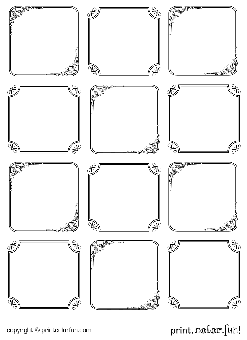Elegant Gift Tags Coloring Page Print Color Fun