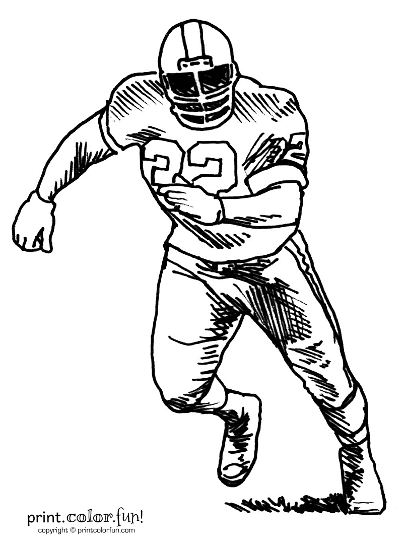 Football Player Coloring Page Print Color Fun
