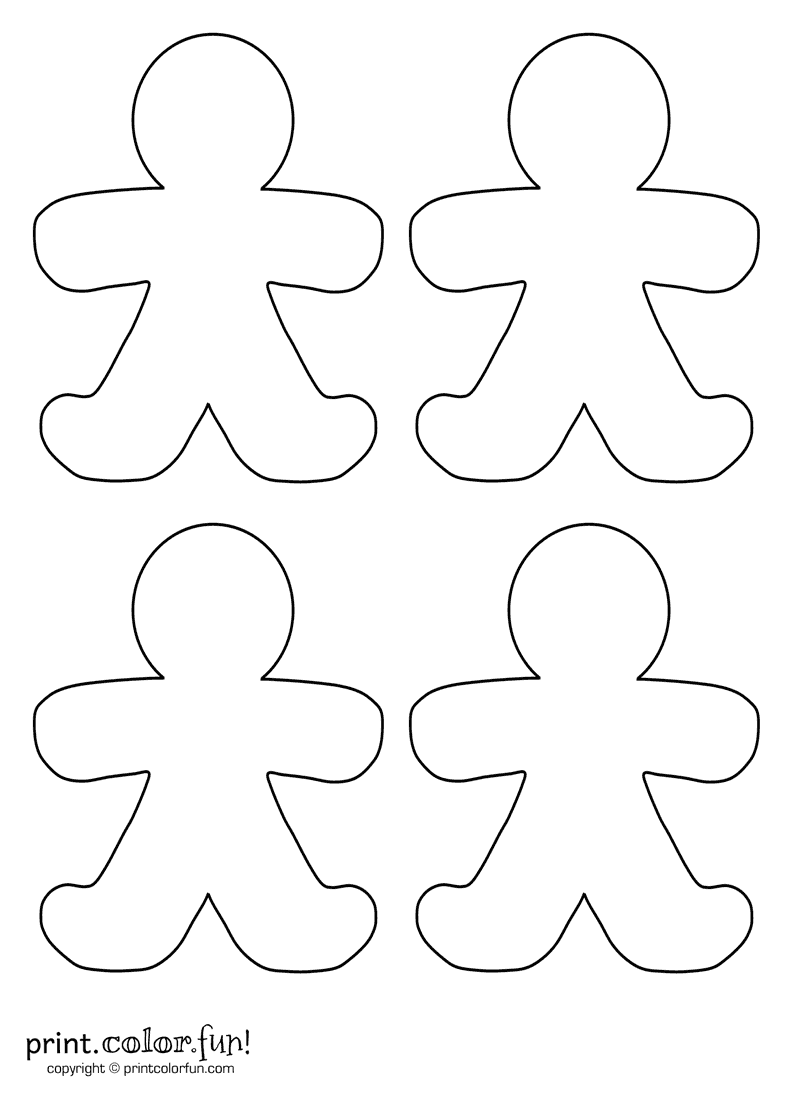 Four blank gingerbread men coloring page - Print. Color. Fun!