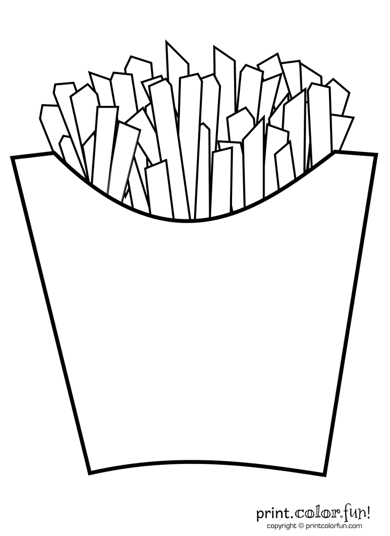 French Fries Coloring Page Print Color Fun