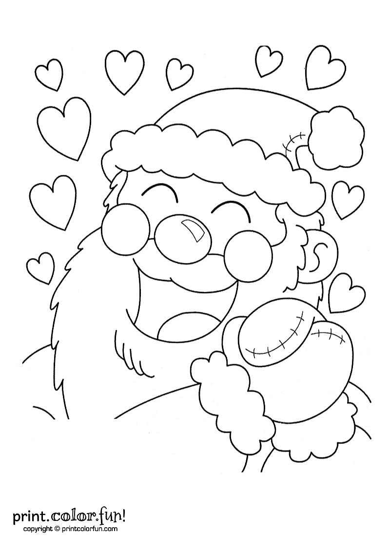 Santa Claus With Hearts Coloring Page Print Color Fun