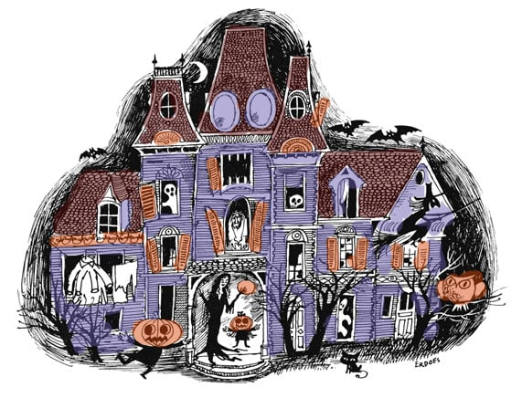 Classic haunted house for Halloween