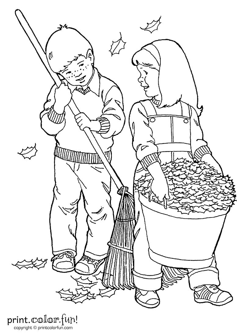 Kids raking leaves coloring page