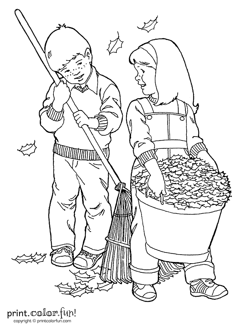 Kids raking leaves coloring page