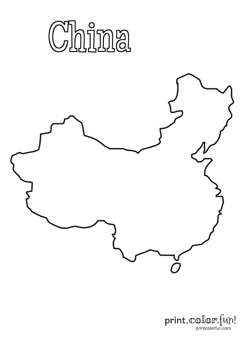 Blank map of China coloring page - Print. Color. Fun!