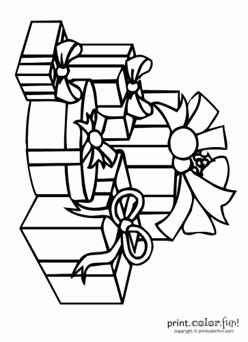 Pile Of Christmas Presents Coloring Page Print Color Fun