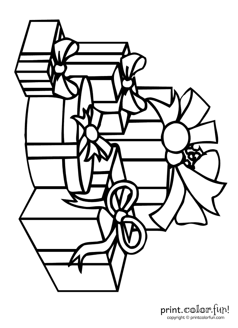 Pile of presents coloring page Print Color Fun
