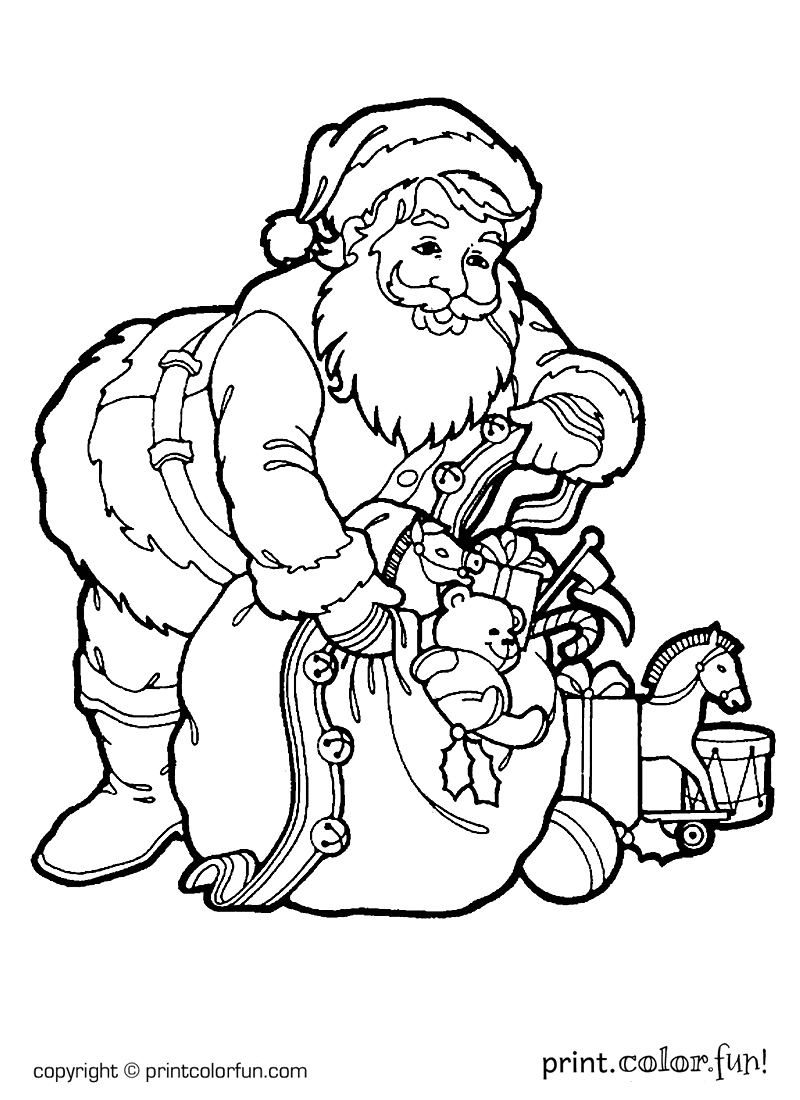 Santa with a sack of toys coloring