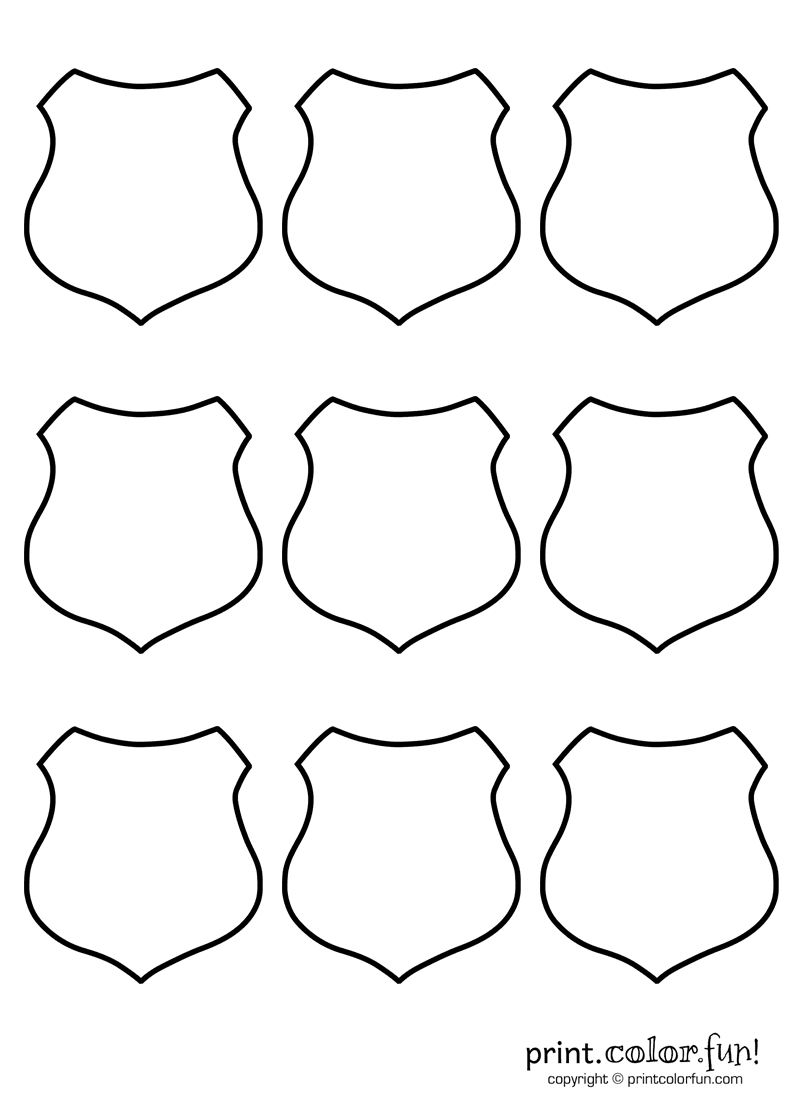 9 blank shields coloring page - Print. Color. Fun!
