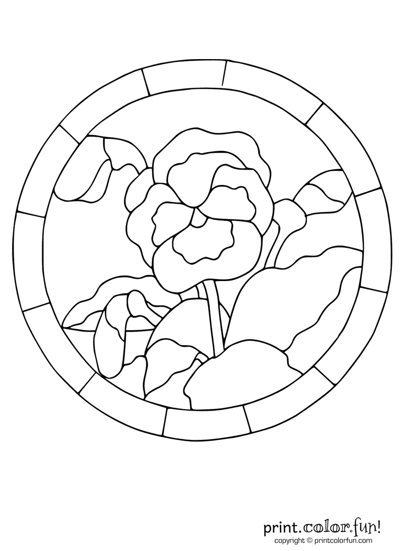 stained glass pansy coloring page