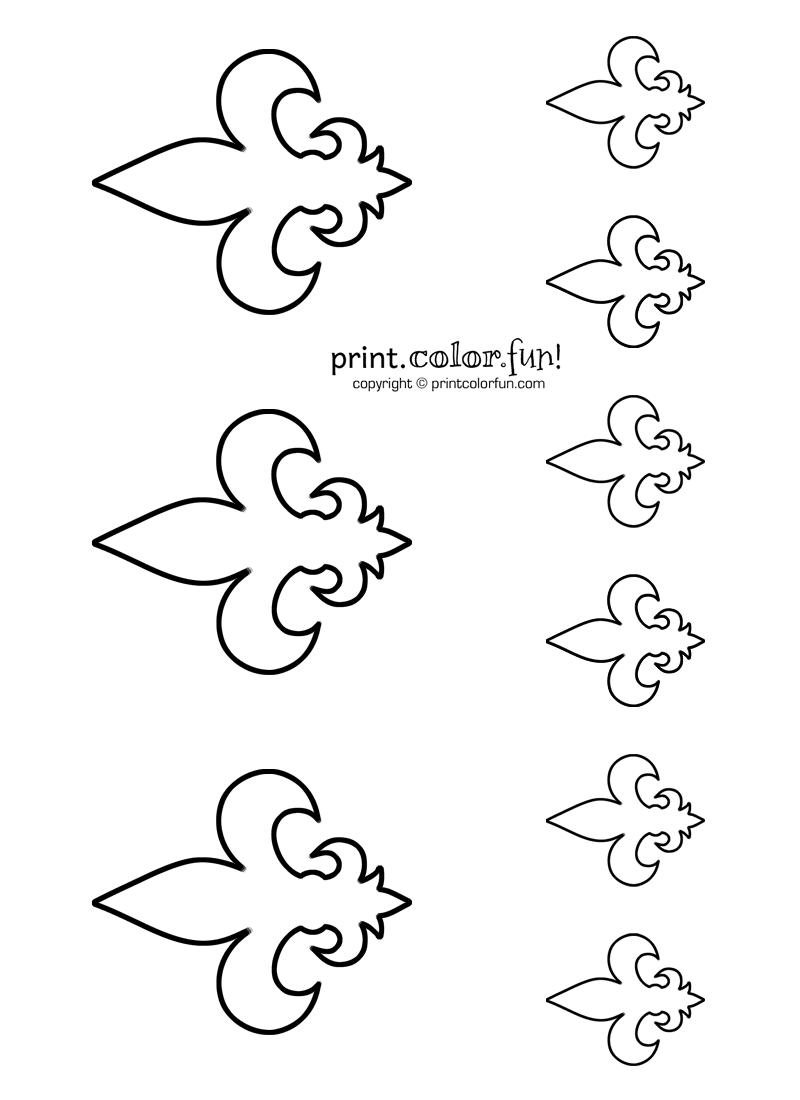 Stencils Fleur De Lis 2 Coloring Page Print Color Fun