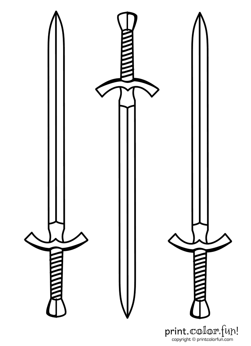 Three swords coloring page print color fun for Katana coloring page