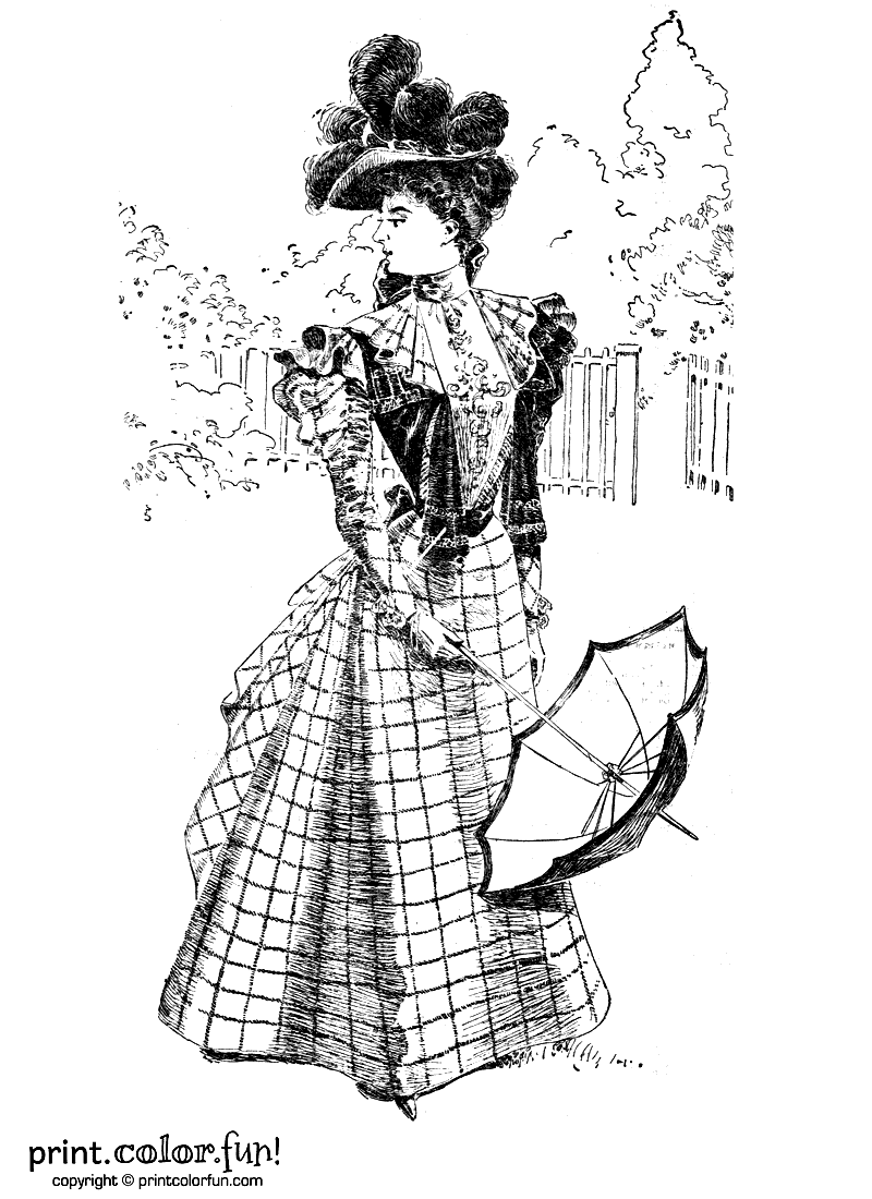 Woman In A Vintage Victorian Dress Coloring Page Print