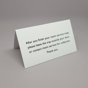 Room Service Tray Clearance Tent Cards