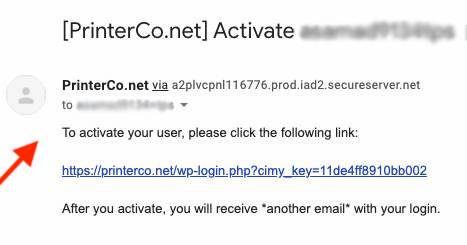 PrinterCo - User Account Activation Email