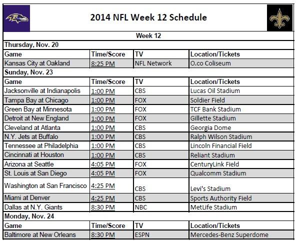 2014 NFL Week 12 Schedule