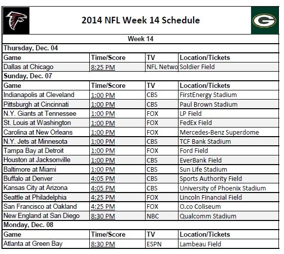 2014 NFL Week 14 Schedule