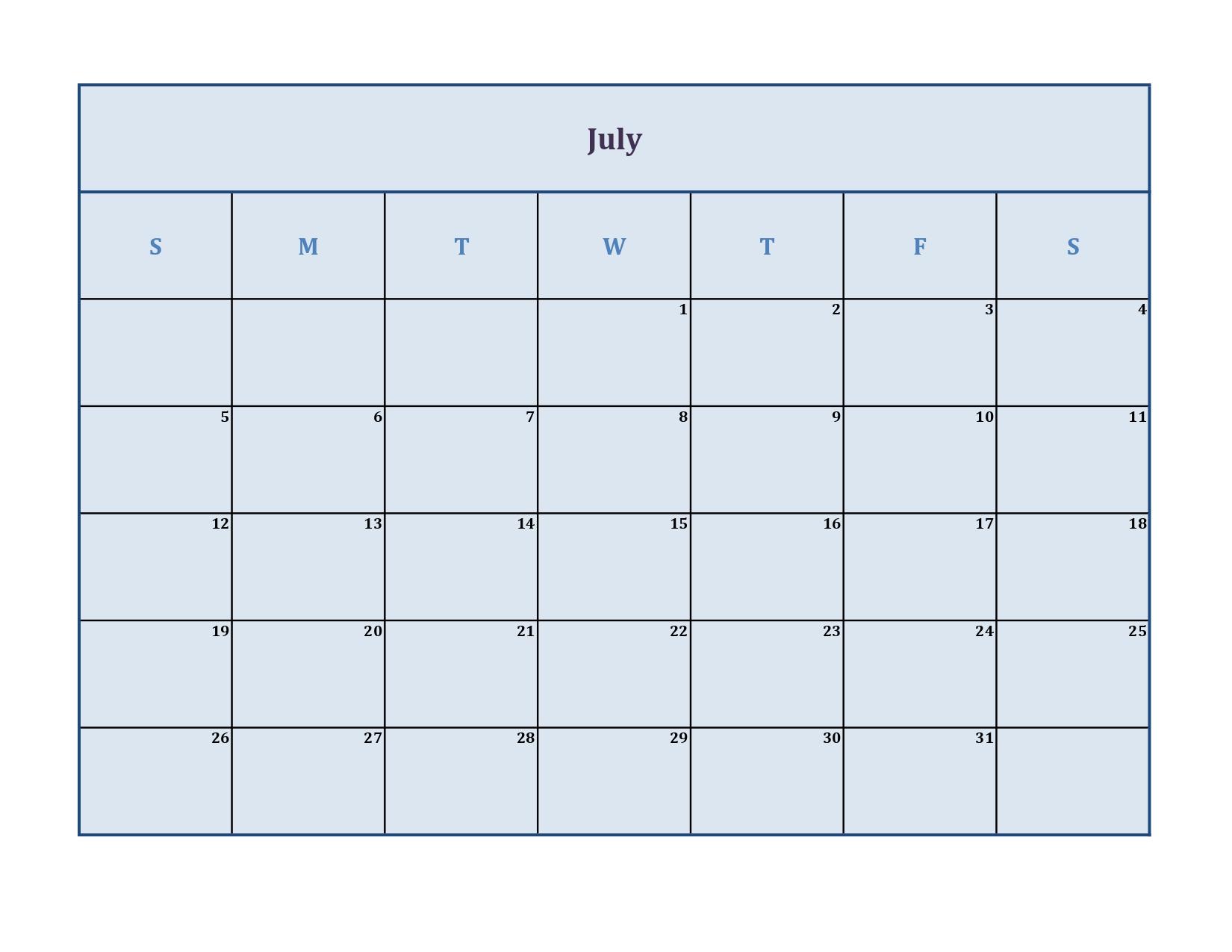 july 2020 calendar without holidays