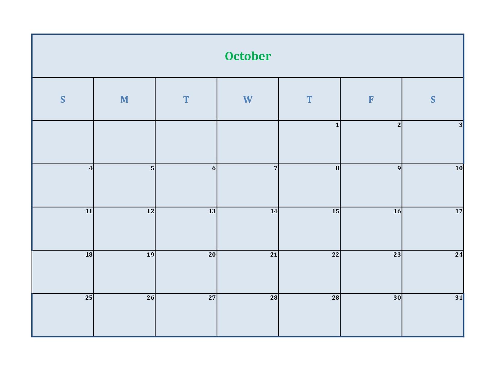 october 2020 calendar pdf without holidays