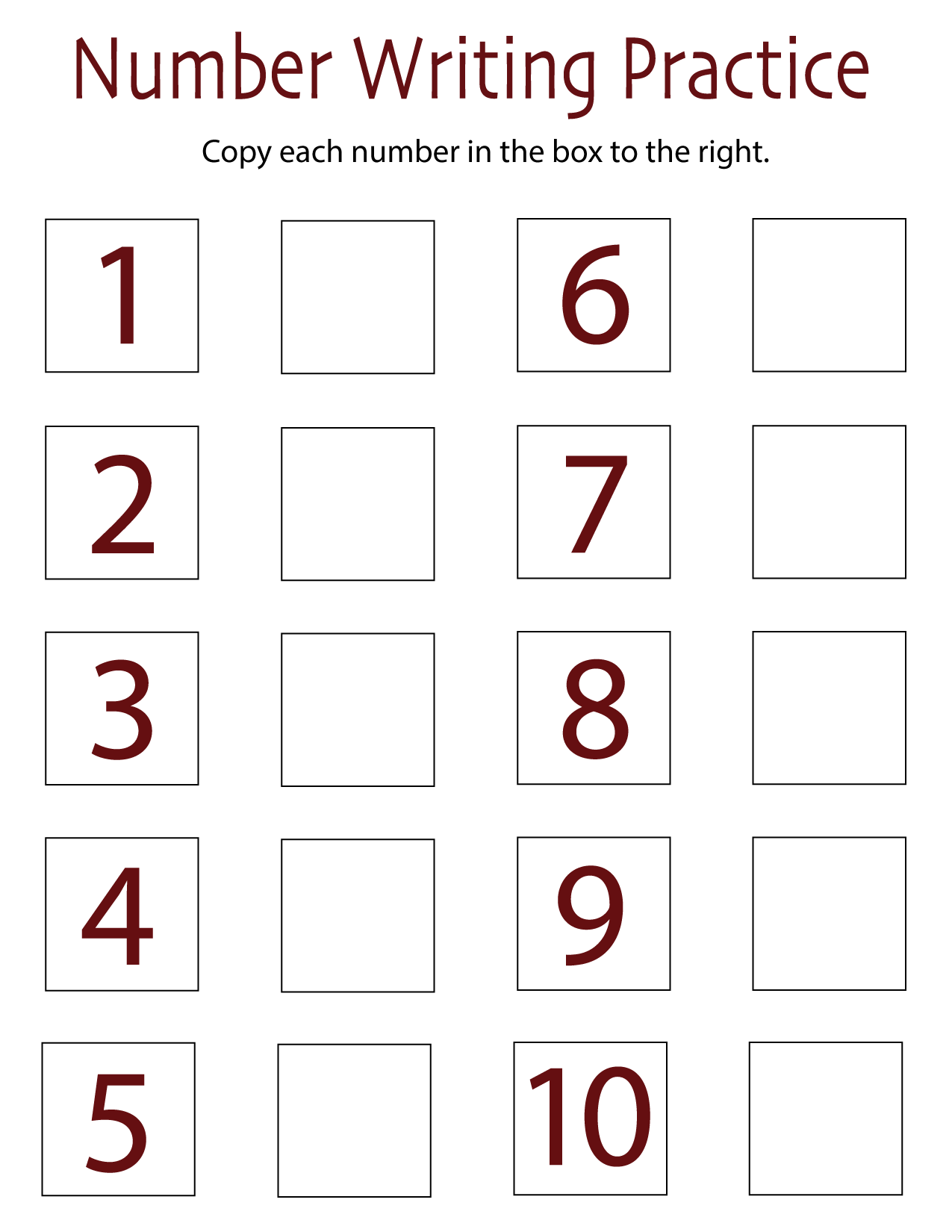 Number-writing practice