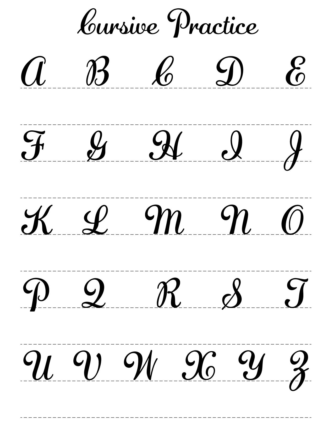 Capital cursive practice