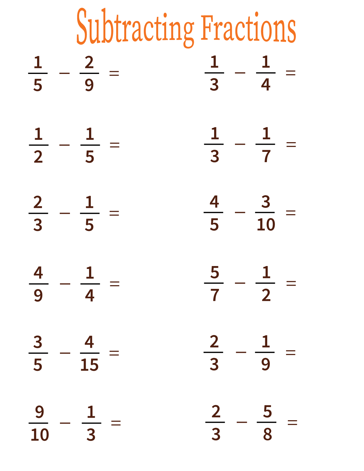 Subtracting fractions worksheet