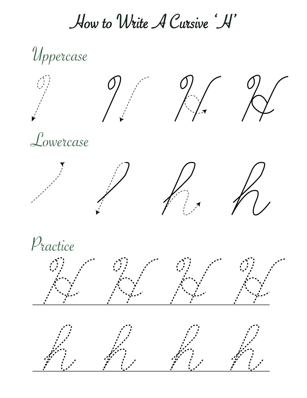 How to write a cursive 'H'