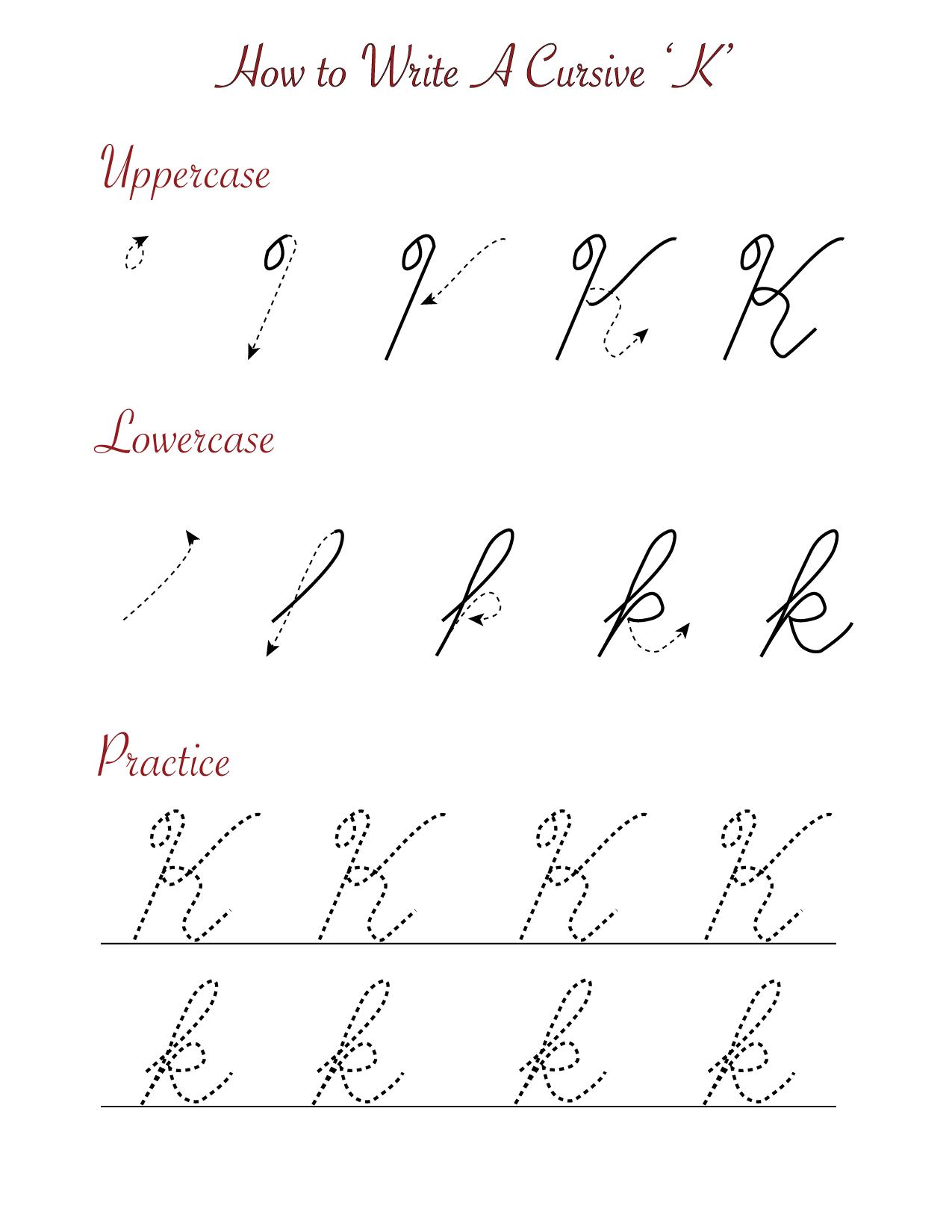 How to write a cursive 'K'