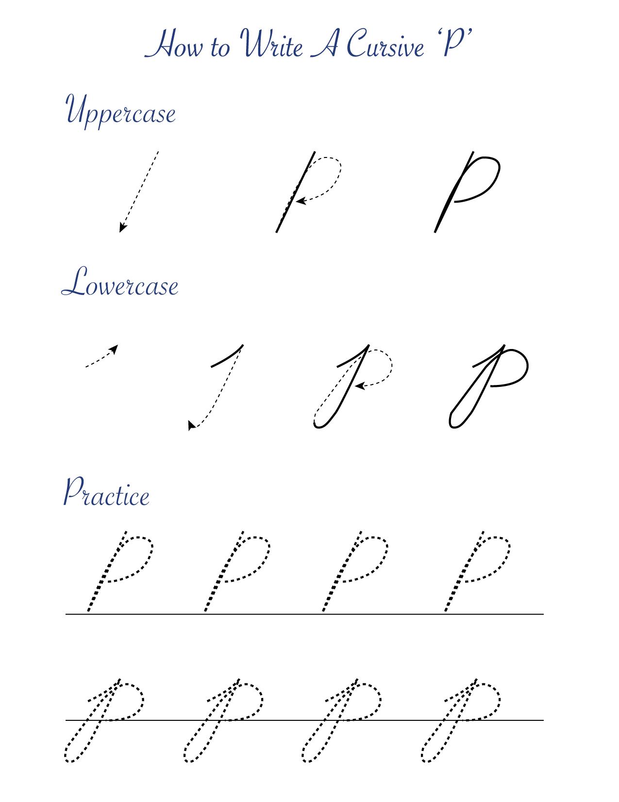 How to write a cursive 'P'