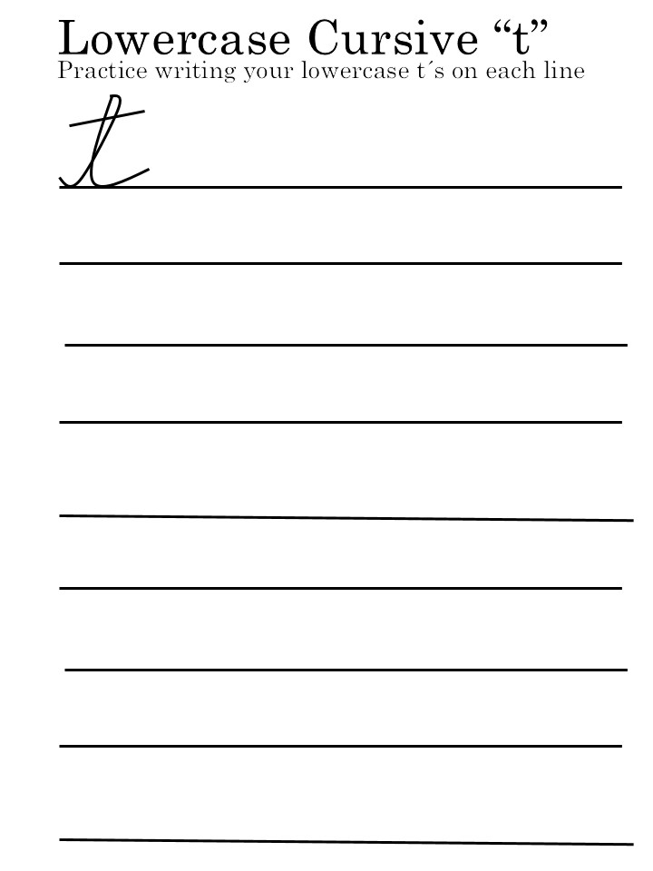 lowercase letter 'T' worksheet perfect for kids