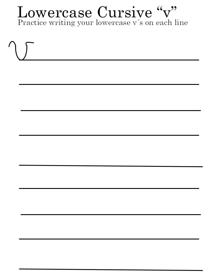 letter 'V' worksheets for lowercase