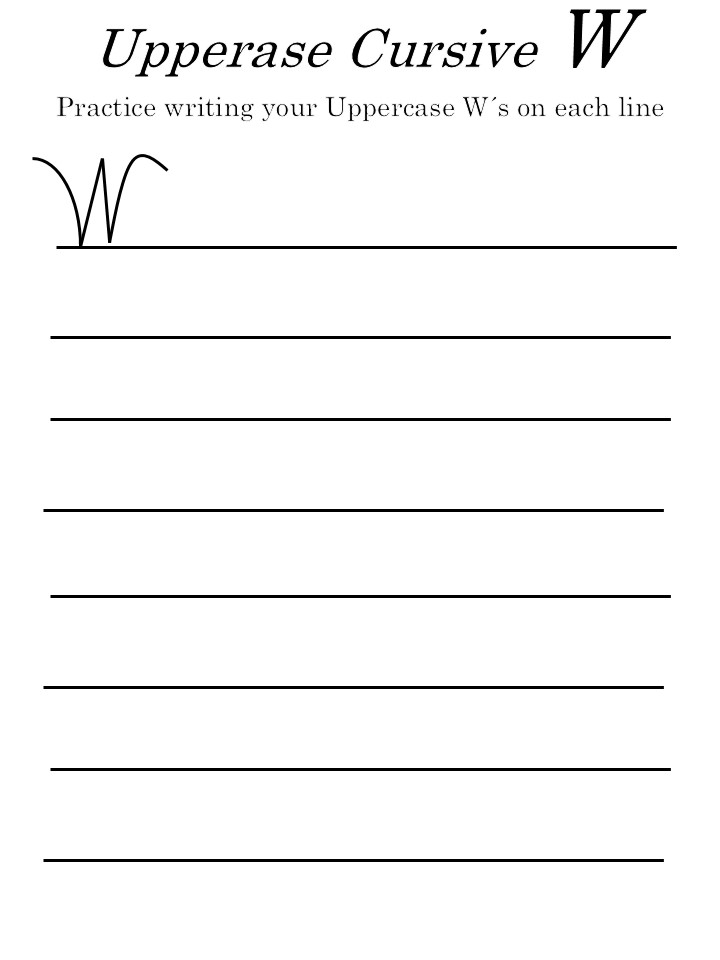 cursive letter 'W' in uppercase worksheet