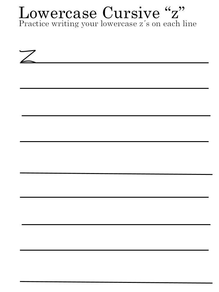 letter 'Z' worksheets lowercase