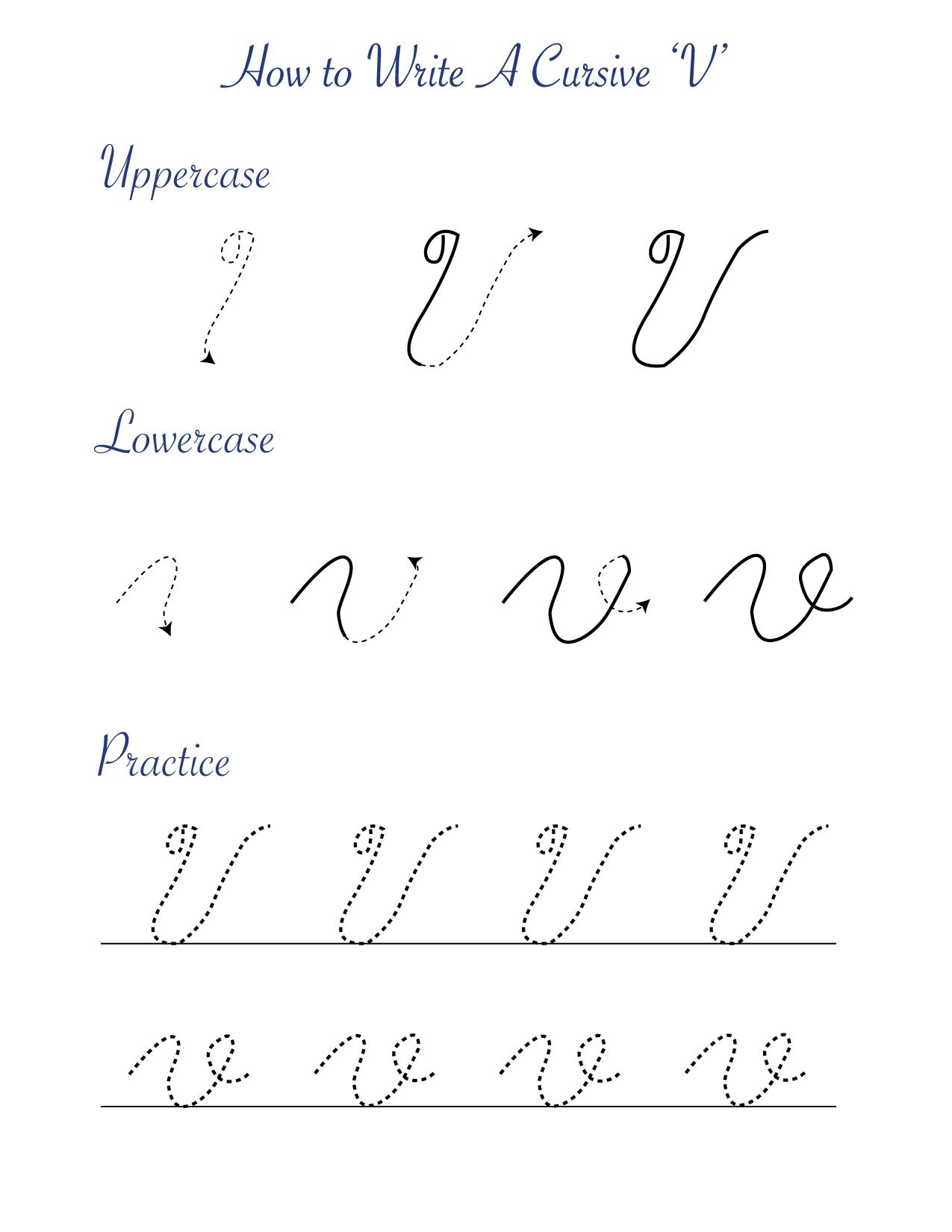 How to write a cursive V