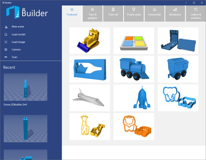 Стартовое окно 3D Builder Windows 10