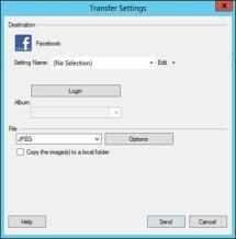 Facebook transfer settings