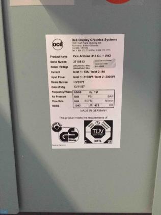 Impresora de cama plana Océ Arizona 318 GL flatbed