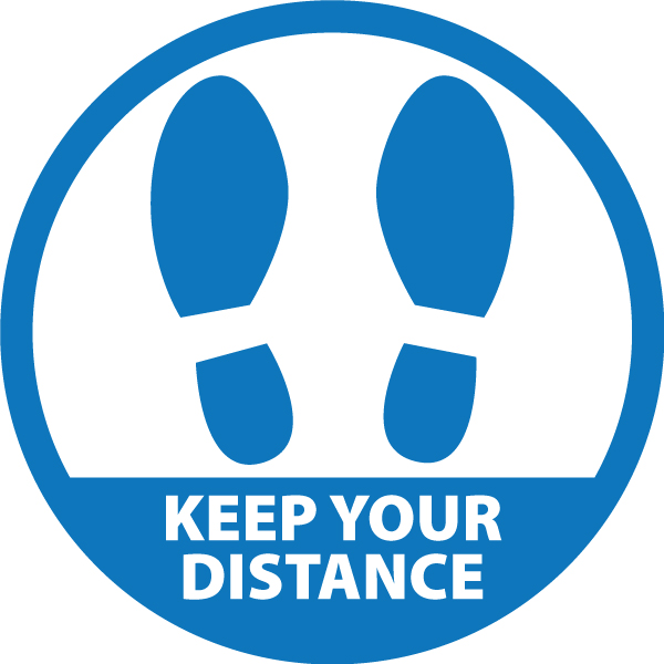 Covid Round Sticker - Keep Your Distance