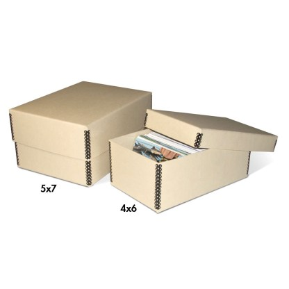 2-piece tan metal edge photo boxes, showing both sizes
