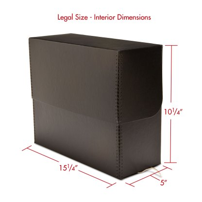 Legal size metal-edge document box-closed with dimensions