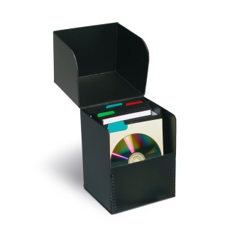 CD Fliptop box shown opened with CDs and bins inside
