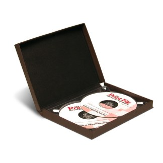 Brown double CD/DVD Clamshell Folio shown with two CDs inside