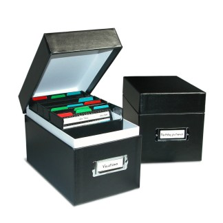 Two CD Portfolio Boxes, one open with bins and CDs inside, the other one closed