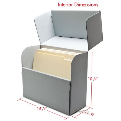 Legal size Corrugated document box opened with folders inside and dimensions