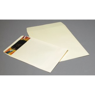 Cream flap envelopes, opened in short side