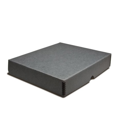 Gray metal-edge box binder, shown closed