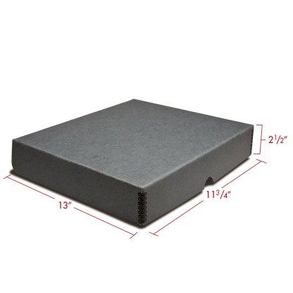 Gray metal edge box binder closed with dimensions
