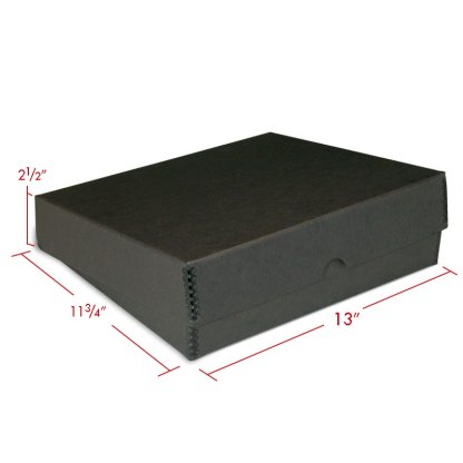Black metal edge box binder with dimensions