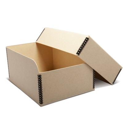 Tan metal-edge 5x7 photo box, opened